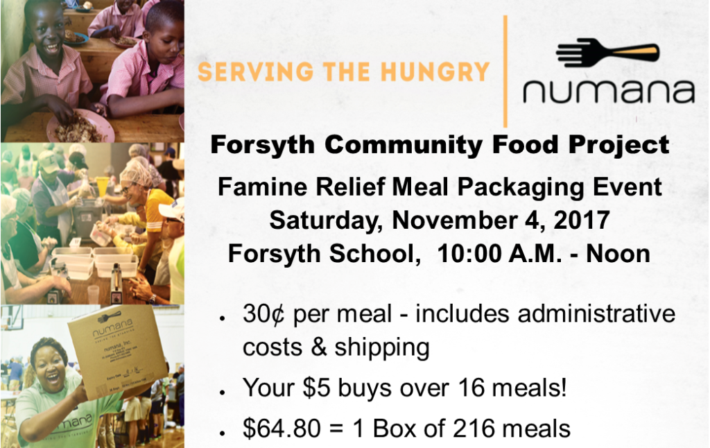Forsyth Community Food Project November 4, 10:00 AM to Noon